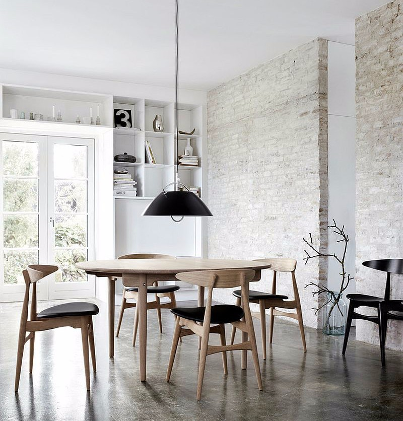 industrial-dining-room-with-a-fabulous-finish-for-the-exposed-brick-wall brick wall 10 Audacious Dining Rooms with Brick Walls Industrial dining room with a fabulous finish for the exposed brick wall
