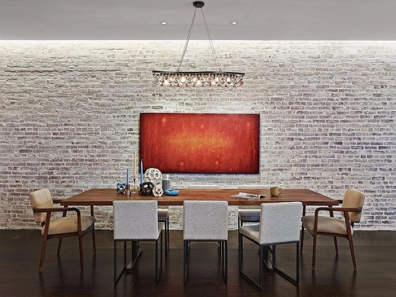 industrial-minimal-dining-room-with-a-whitewashed-brick-wall-backdrop brick wall 10 Audacious Dining Rooms with Brick Walls Industrial minimal dining room with a whitewashed brick wall backdrop