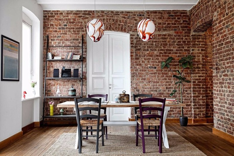 ladder-shelf-and-snazzy-pendants-for-the-contemporary-dining-room-with-brick-walls