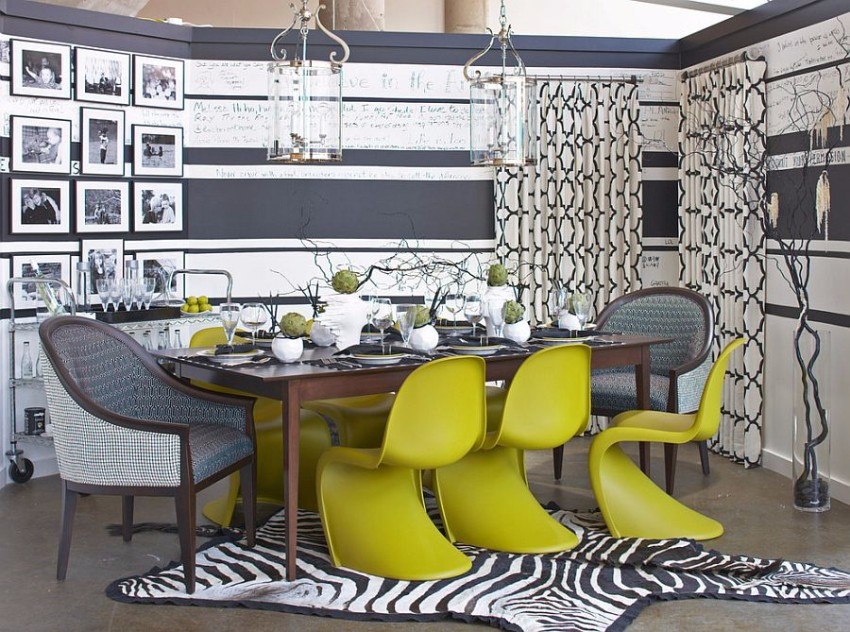panton-chair-adds-color-and-cheerfulness-to-the-gray-dining-room dining room Gray and Yellow: Stylish Color Duo for your Dining Room Panton Chair adds color and cheerfulness to the gray dining room