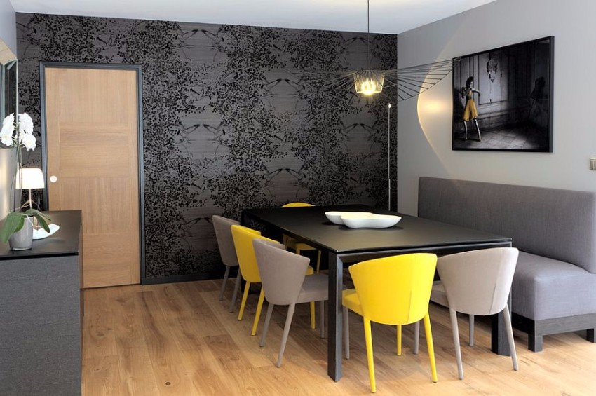 refined-contemporary-dining-room-in-gray-with-a-dash-of-yellow dining room Gray and Yellow: Stylish Color Duo for your Dining Room Refined contemporary dining room in gray with a dash of yellow