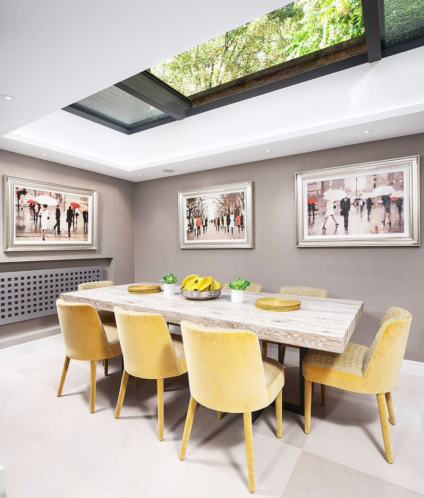retractable-skylight-brings-natural-ventilation-into-the-smart-dining-space dining room Gray and Yellow: Stylish Color Duo for your Dining Room Retractable skylight brings natural ventilation into the smart dining space