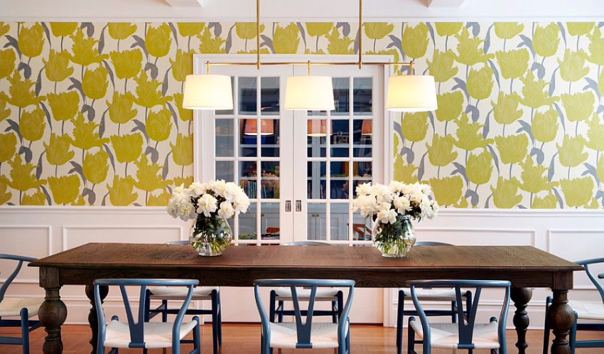 wallpaper-adds-yellow-while-the-dining-table-chairs-bring-a-touch-of-bluish-gray-to-the-dining-room dining room Gray and Yellow: Stylish Color Duo for your Dining Room Wallpaper adds yellow while the dining table chairs bring a touch of bluish gray to the dining room