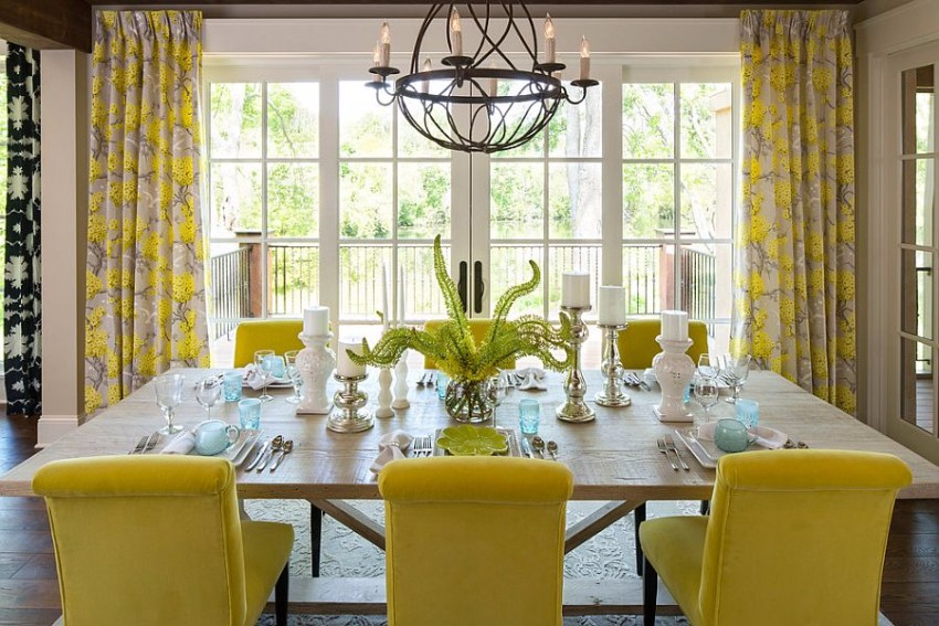 dining room dining room Gray and Yellow: Stylish Color Duo for your Dining Room Yellow plays the lead role in this cheerful dining room