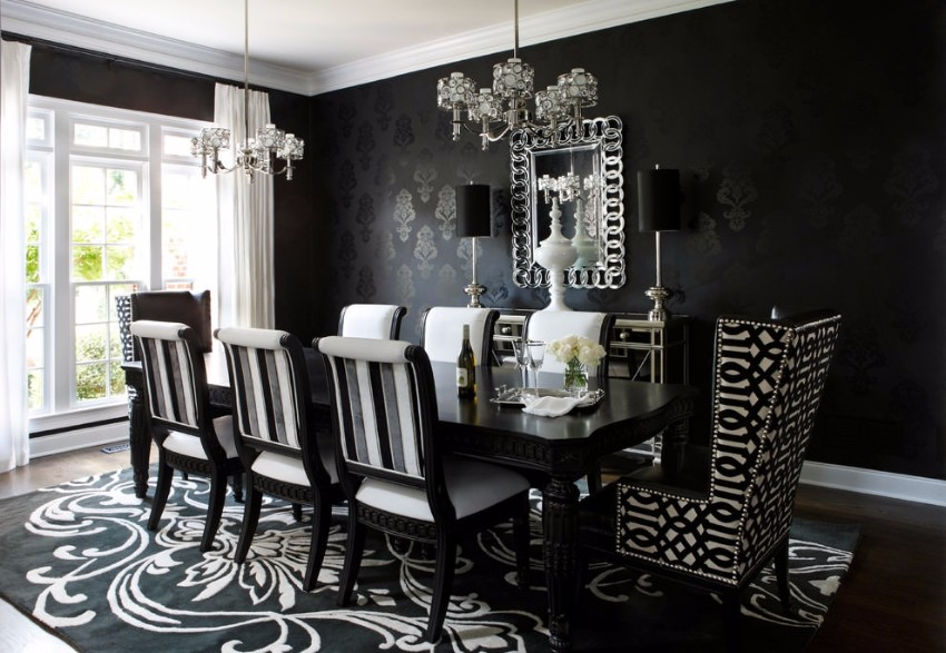 black dining room 10 Trendy Black Dining Rooms 24 black and white dining room designs dining room designs within black and white dining room table