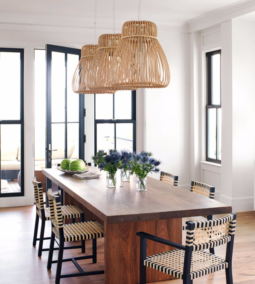 chandelier 30 Modern Dining Rooms with Magnificent Chandeliers 54c183fcd67e4   11 hbx rattan pendant 0611 de 2