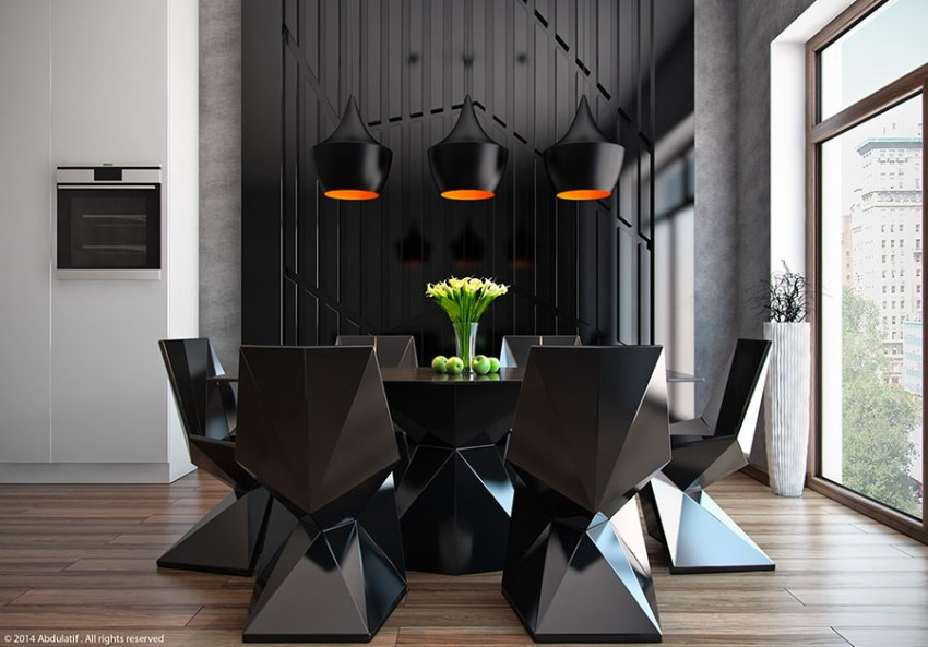 black dining room 10 Trendy Black Dining Rooms Arredamento Sala Da Pranzo 04
