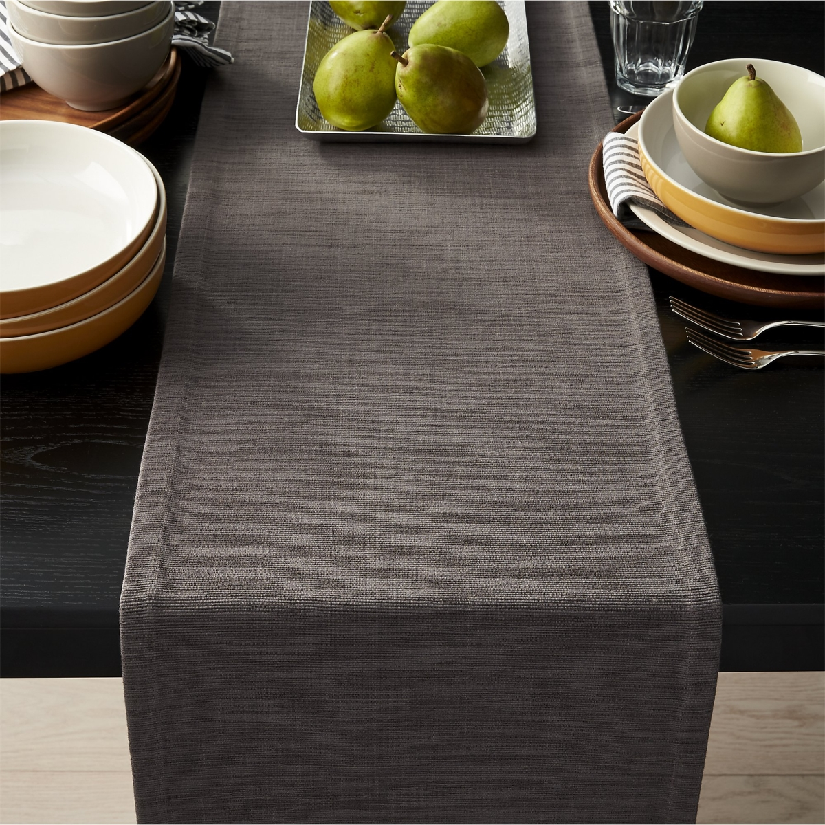 table runner The Finest Table Runners for your Dining Table Deep grey table runner