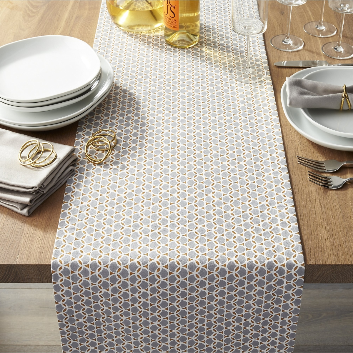 table runner The Finest Table Runners for your Dining Table Geometric table runner from Crate Barrel