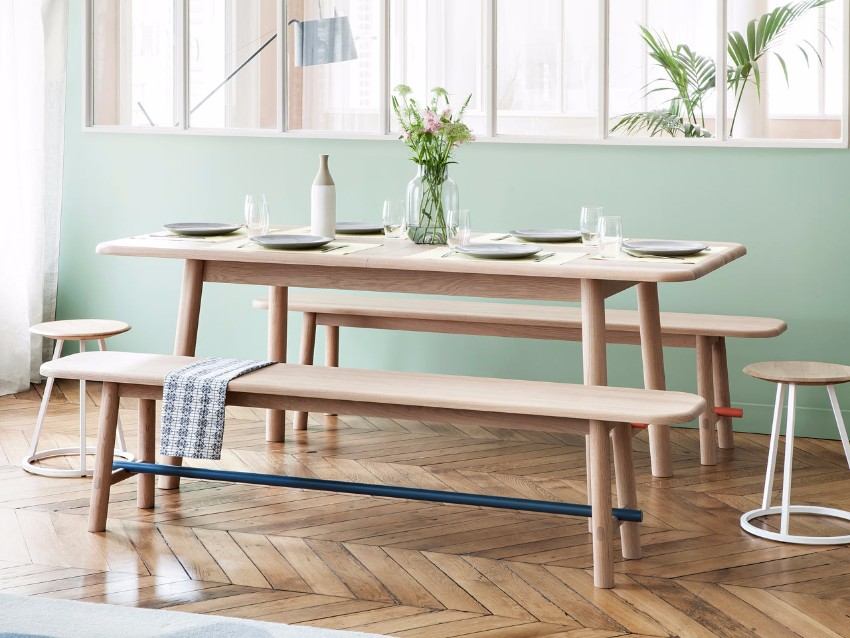 table Hélène Table and Hector Bench by HARTÔ  HARTO Helene Hector dining 1
