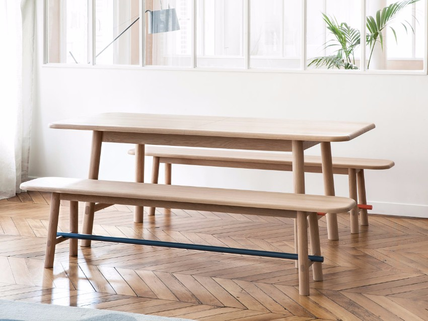 table Hélène Table and Hector Bench by HARTÔ  HARTO Helene Hector dining 2