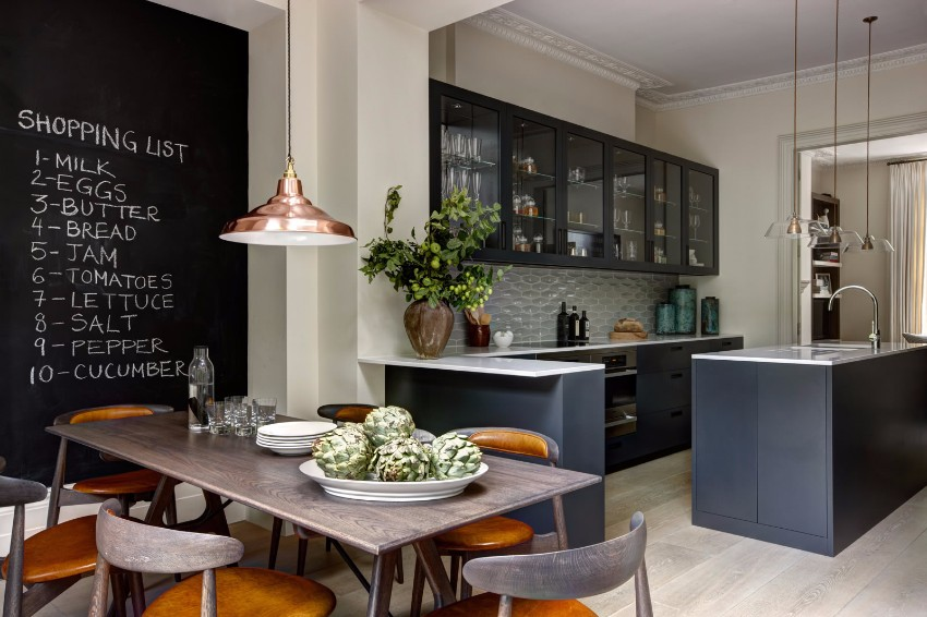 10 black accent walls dining rooms for Kitchen design london