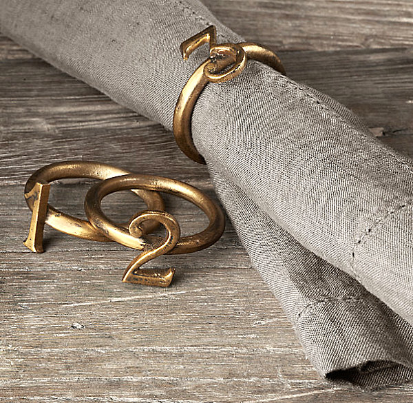 napkin rings Sophisticated Napkin Rings To Your Tabletop Metallic number napkin rings