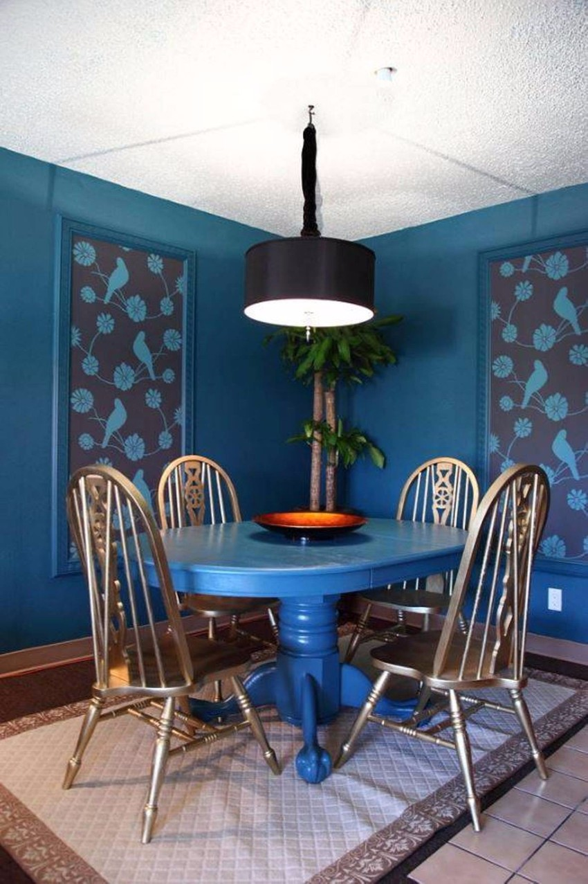 wallpaper How to Decorate the Dining Room with a Dazzling Wallpaper cool blue dining room wall decor