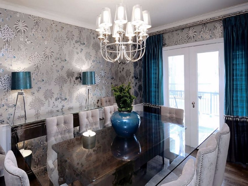 wallpaper How to Decorate the Dining Room with a Dazzling Wallpaper dark grey and turquoise grey and turquoise dining room ideas 76d3774765e751e2