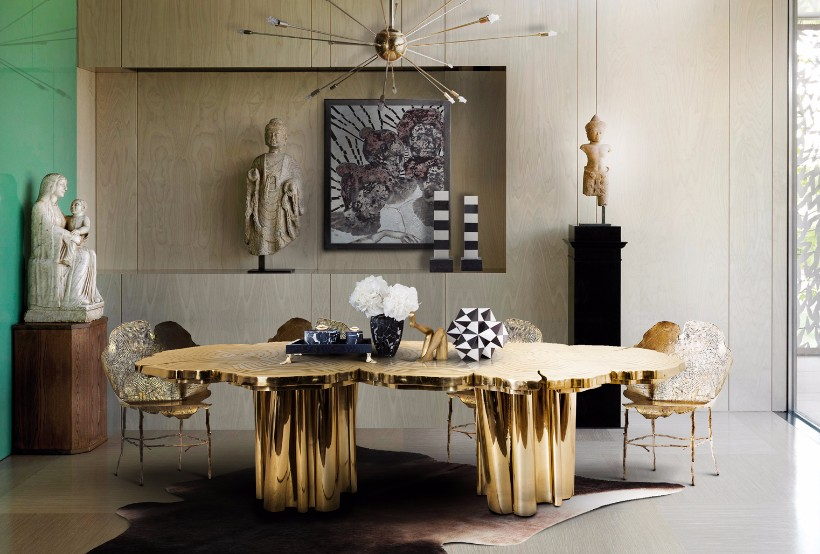 fortuna dining table Fortuna Dining Table: a Shimmering Golden Piece for your Dining Room fortuna dining table 1