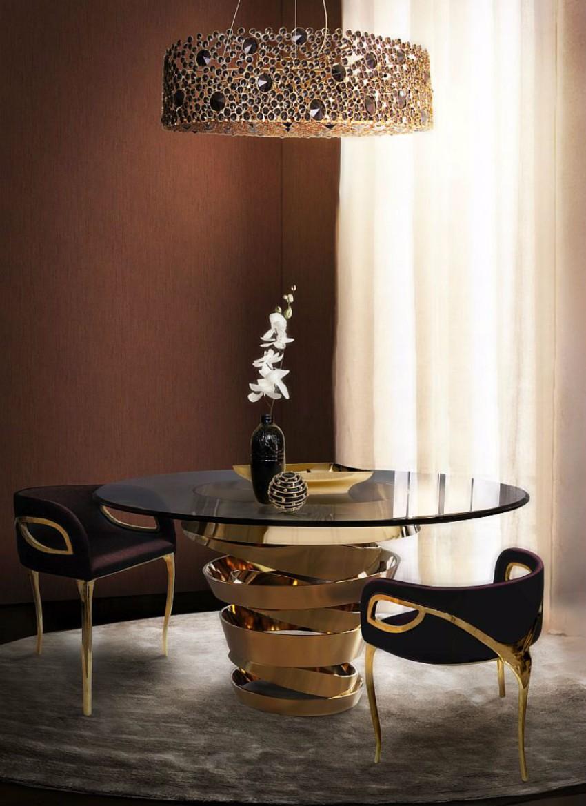 dining room 10 Impressive Contemporaneous Dining Room Ideas intuition by Koket 1128947 ETERNITYChandelierINTUITIONDiningTab
