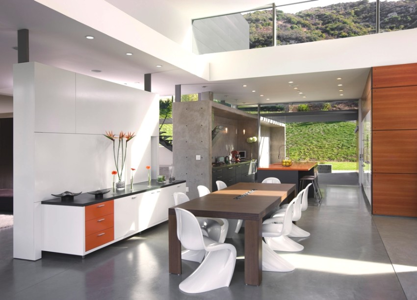 chair 20 Minimalist Dining Rooms Sets with White Dining Chairs living at lima residence los angeles 08