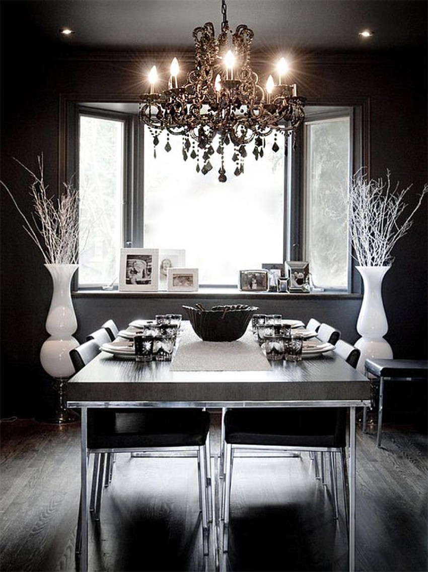 black dining room black dining room 10 Trendy Black Dining Rooms lustre hamilton black 2