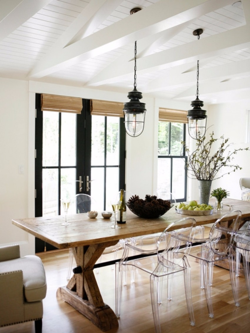 10 farmhouse dining room designs for Modern dining room table decorating ideas