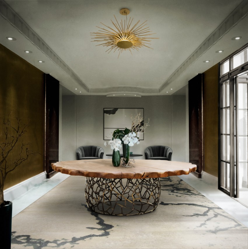 chandelier 30 Modern Dining Rooms with Magnificent Chandeliers soleil brabbu 1