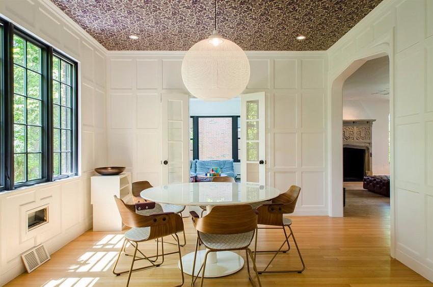 wallpaper How to Decorate the Dining Room with a Dazzling Wallpaper trang tri phong an voi bat mat voi giay dan tuong 12