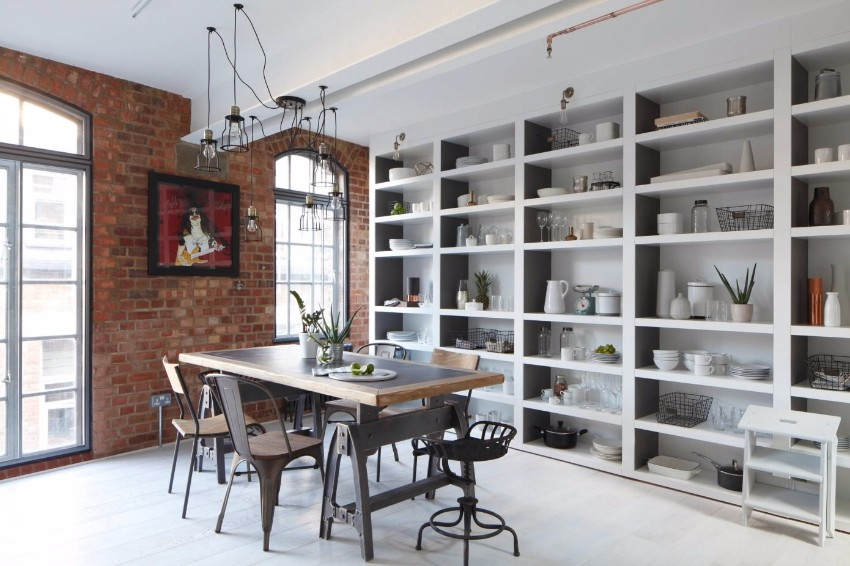 industrial 10 Ways to Create a Stylish Industrial Dining Room 009 soho apartment fine edge designs