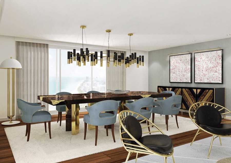 25 dazzling modern dining rooms for Modern dining suites