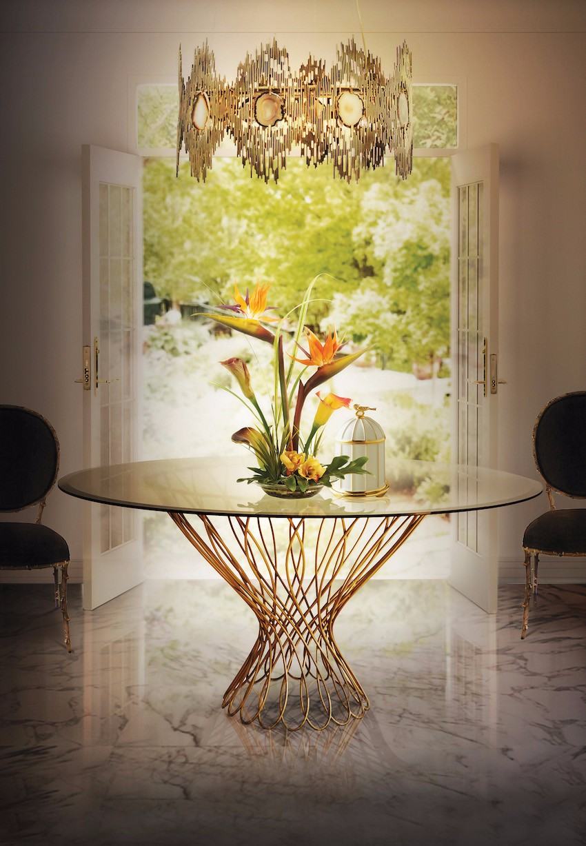 gold Luxury Dining Room with Golden Features 5 Great Reasons Why Glass Tables Are Perfect to Small Spaces 3