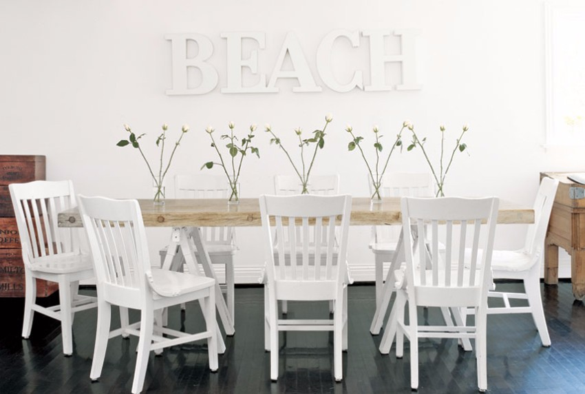 10 contemporary white dining rooms for Beachy dining room ideas