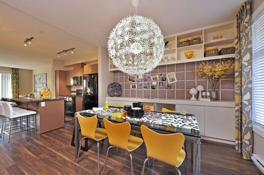 yellow 15 Dining Areas with Yellow Dining Chairs Svetodiodnie svetilniki v interiere 30
