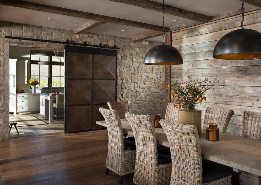 sliding doors 10 Marvelous Dining Rooms with Wooden Sliding Doors barndoors 11