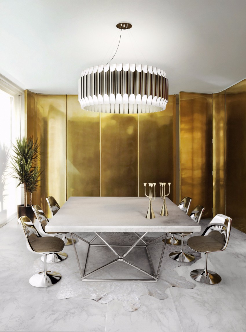 gold Luxury Dining Room with Golden Features delightfull galliano unique ceiling lamp contemporary chandelier