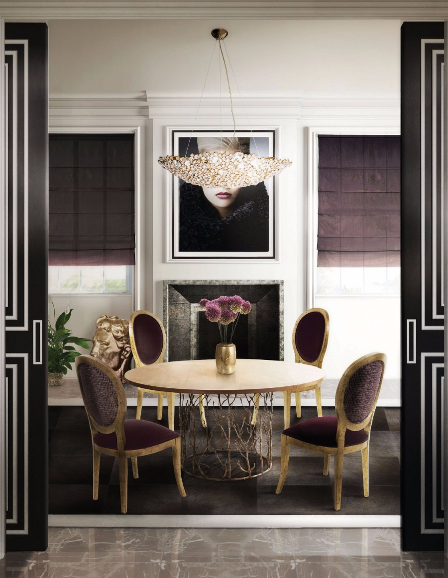 dining room 25 Dazzling Modern Dining Rooms koket enchanted dining table eternity chandelier diamantra dining chair koket projects