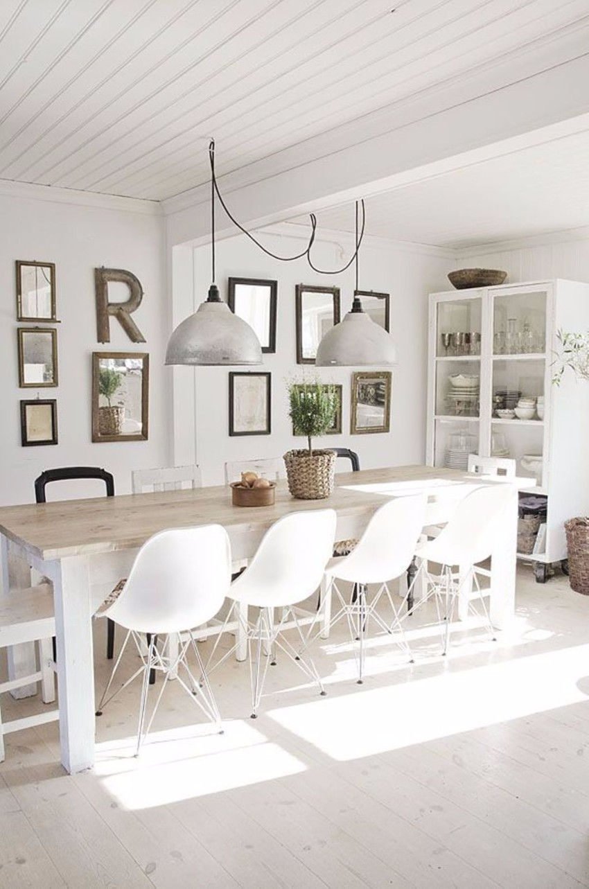 10 contemporary white dining rooms for Modern dining room table