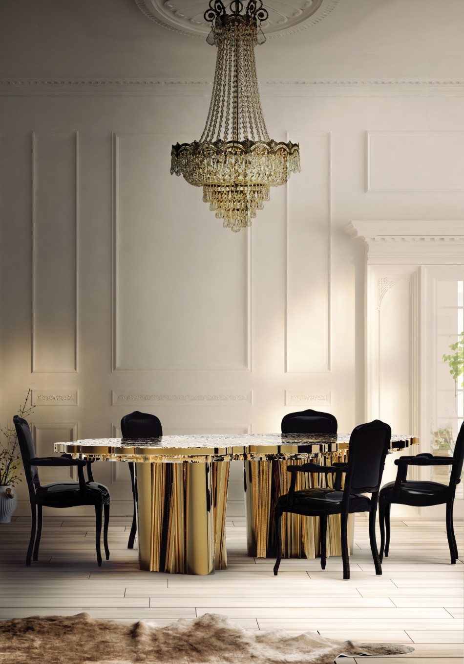 dining table How To Mix and Match Chairs With Your Dining Table 02 boca do lobo fortuna dining table interior