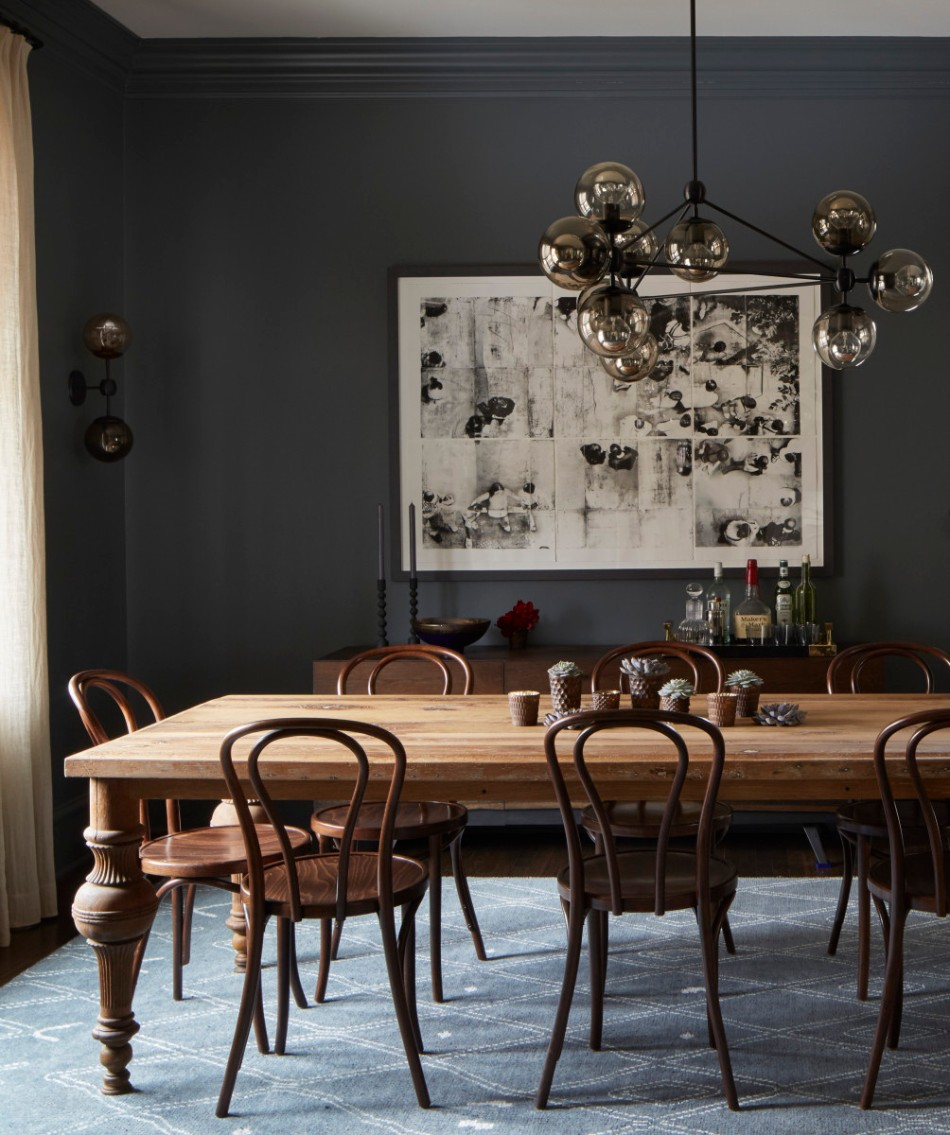 15 graceful gray dining room ideas for Dark grey dining room