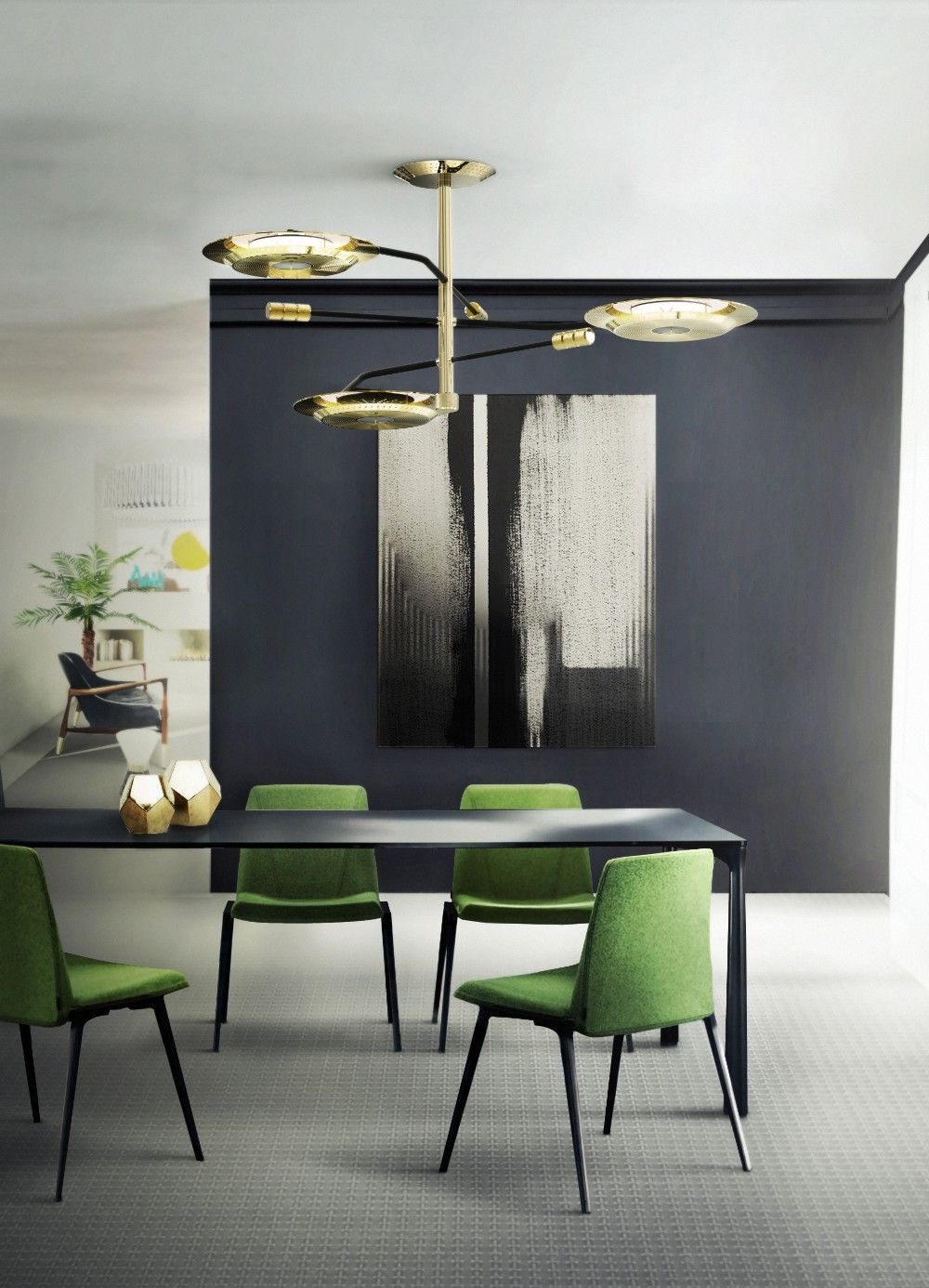 dining room 15 Best Colors for Dining Rooms delightfull hendrix midcentury modern suspension lamp