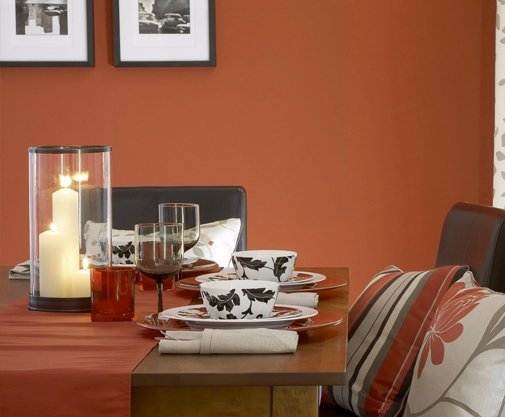 dining room 15 Best Colors for Dining Rooms dining room color ideas for a small dining room bold paint Spicy orange paint on dining room interior