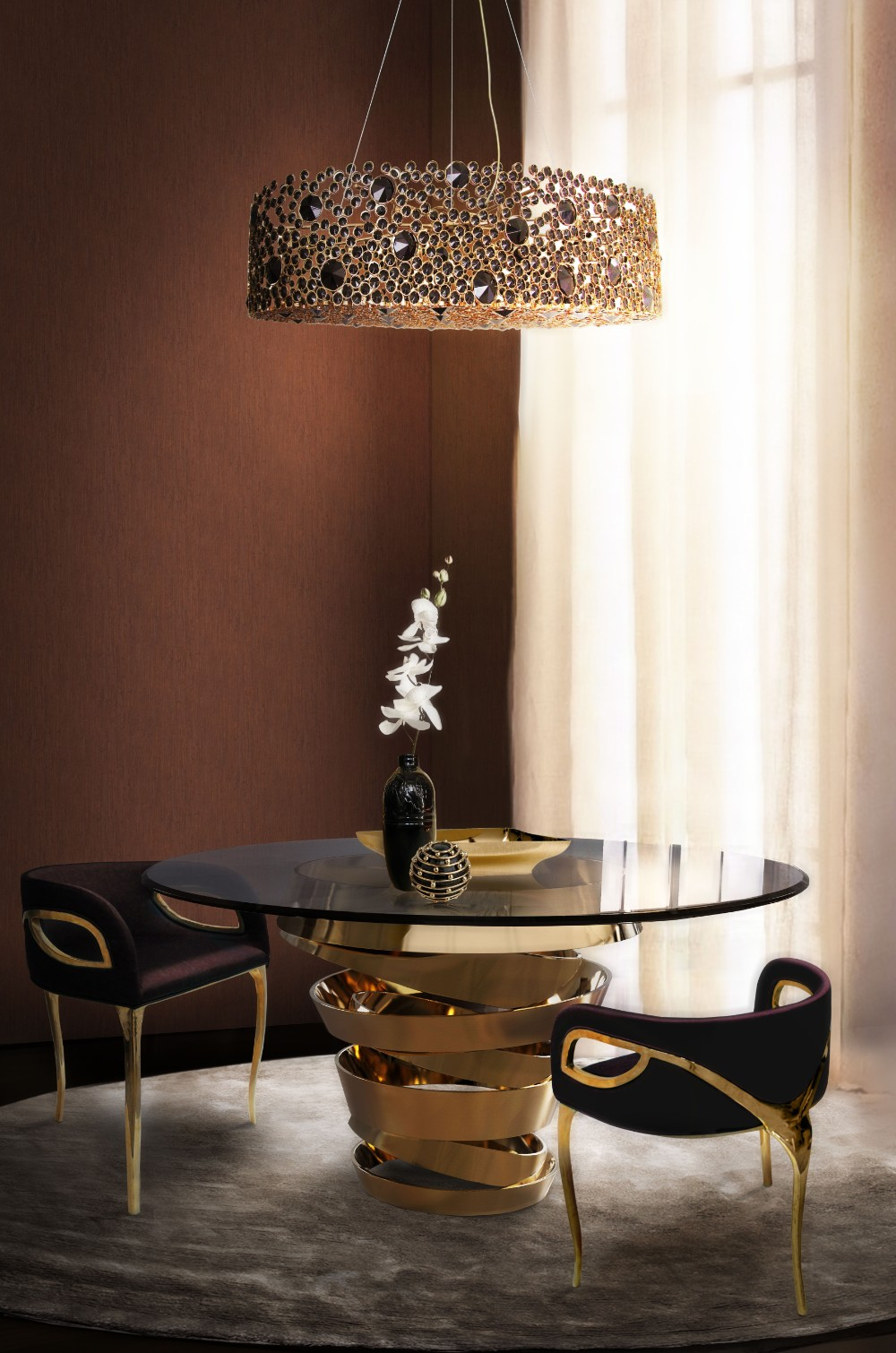 dining room 15 Best Colors for Dining Rooms koket eternity chandelier intuition dining table chandra dining chair koket projects