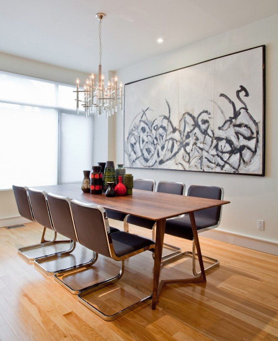 Dining Rooms With Oversized Art - Large mid century modern dining table