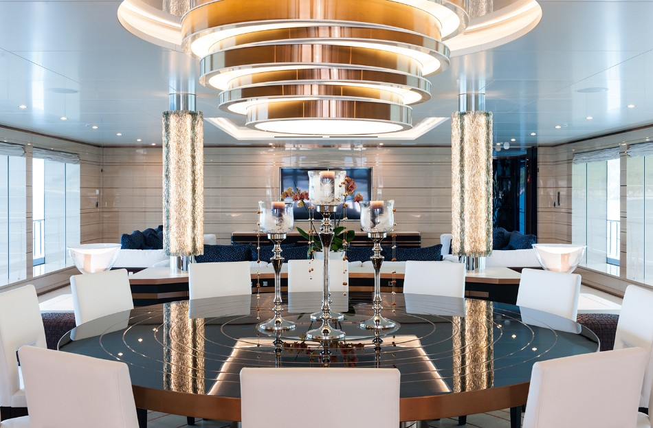 yacht dining table Get Amazed With These Luxurious Yacht Dining Tables Sunrise yachts Irimari Interior Design Power Yacht Thumbnail1