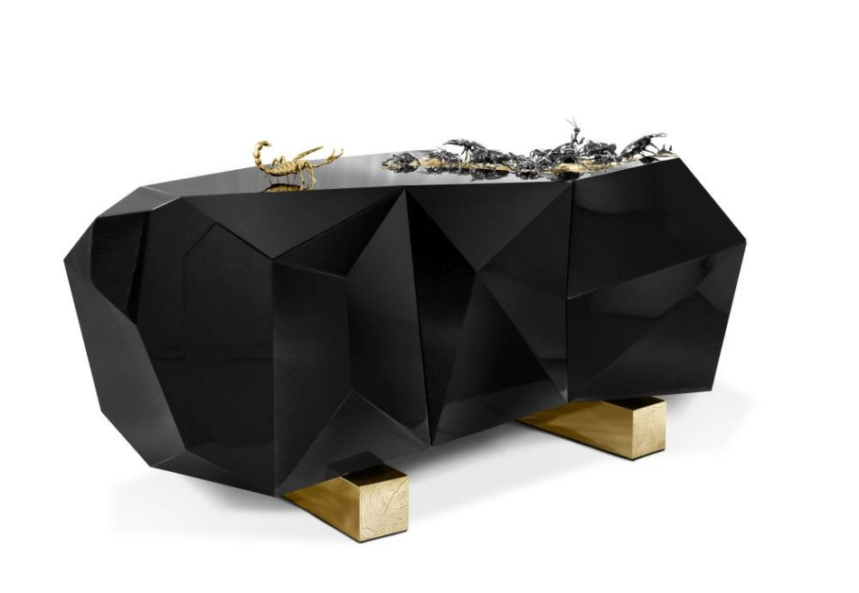 Rihanna Rihanna Sneak Peak: Rihanna's Sophisticated Black-and-White Dining Room diamond metamorphosis sideboard 1