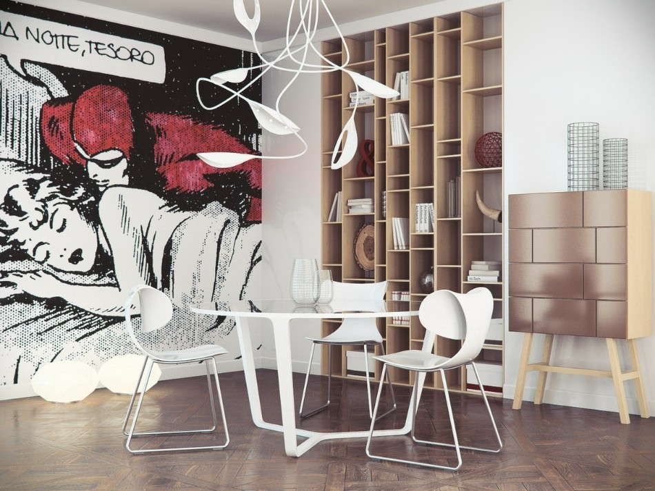 rooms with oversized art 10 Dining Rooms With Oversized Art interior decoration ideas makeover elegant home interior decoration with wall murals for living room design ideas with comic wall painting and white plastic dining chair along with round white