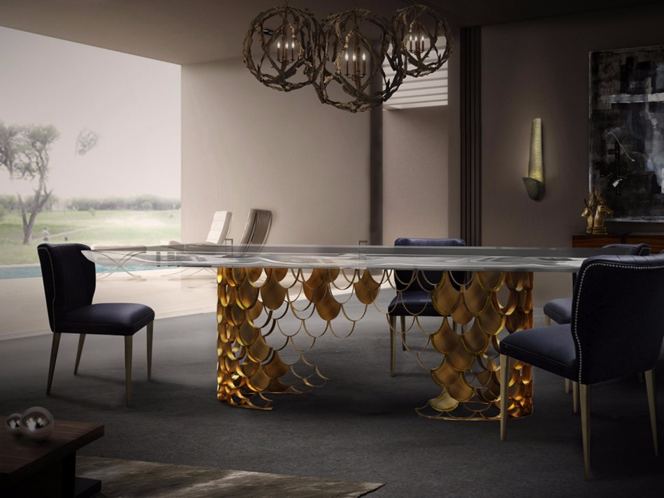 10 Gold Dining Tables For The Most Luxury Interiors | www.bocadolobo.com #moderndiningtables #diningtables #luxurydiningtables #golddiningtables #goldfurniture #diningroom #thediningroom #diningarea #diningareadesign #luxury #luxurious @moderndiningtables