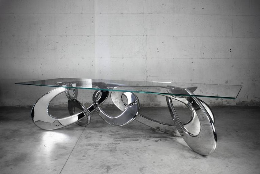 modern dining tables modern dining tables Top 25 Modern Dining Tables 3 chained steel cemento l