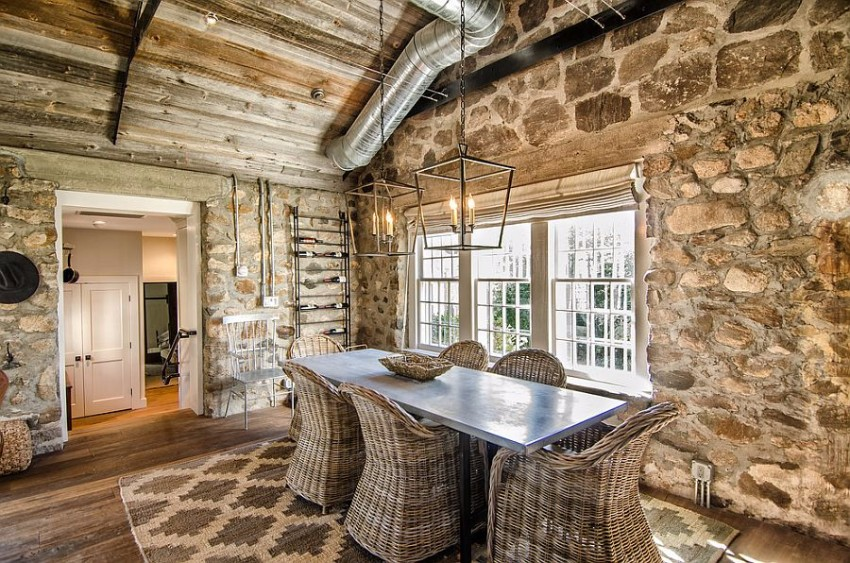 stone wall, modern dining table, Dining area, dining space, dining rooms, the dining room, dining design, dining area design dining rooms Striking Dining Rooms with Stone Walls Striking Dining Rooms with Stone Walls 10
