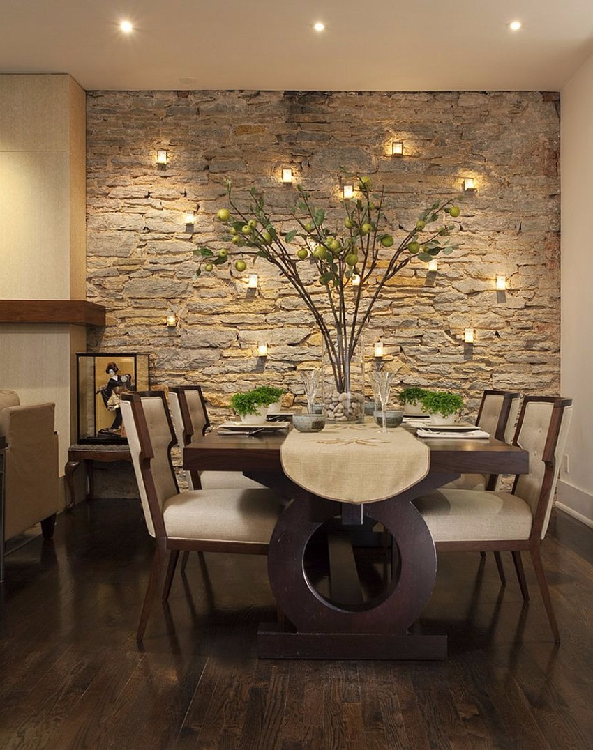 dining rooms Striking Dining Rooms with Stone Walls Striking Dining Rooms with Stone Walls 3