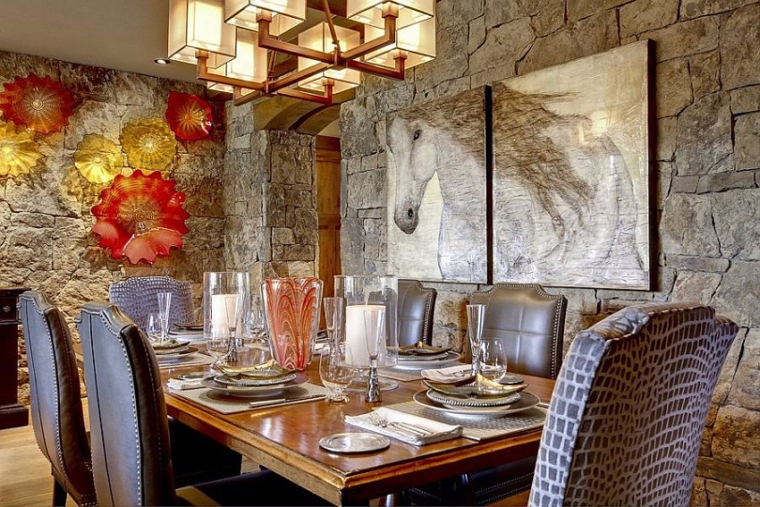 dining rooms Striking Dining Rooms with Stone Walls Striking Dining Rooms with Stone Walls 4