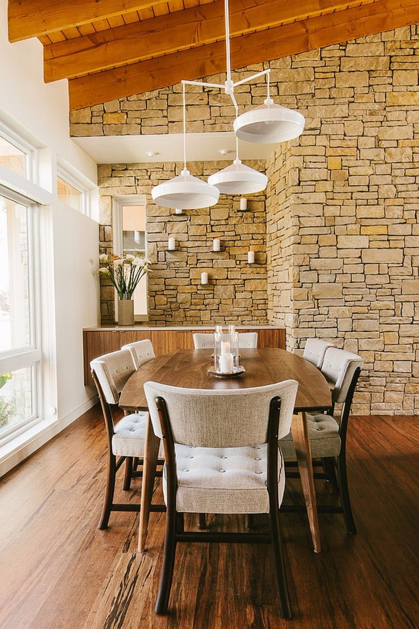 dining rooms Striking Dining Rooms with Stone Walls Striking Dining Rooms with Stone Walls 8
